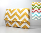 Chevron Clutch Purse - Choose a Color from Yellow, Green, Coral, Aqua Blue, or Dusty Blue - Listing is for ONE Clutch