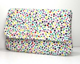 Clutch - Multi-Colored Dots in Green, Pink, Purple, Red, and Yellow on White with 2 Pockets - Made to Order