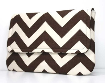 Clutch Purse - Brown and Natural Chevron with 2 Pockets - Made to Order
