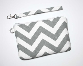 Zipper Wristlet Clutch - Gray / Grey and White Chevron with Detachable Wrist Strap - Ready to Ship