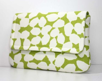 SALE - Clutch - Green and White Fold Over Purse with 2 Pockets - Ready to Ship