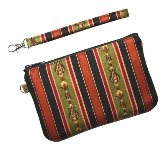 SALE - Zipper Wristlet Clutch - Black, Gold, Olive Stripe with Detachable Wrist Strap - 2 Interior Pockets - Ready to Ship