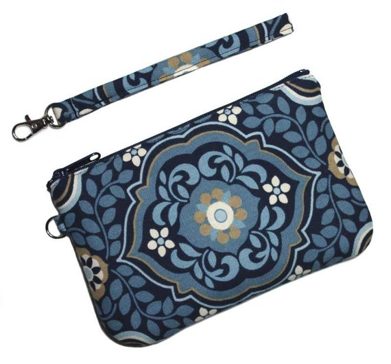 Wristlet Clutch - Flowers and Leaves on Blue with Detachable Wrist Strap - Ready to Ship