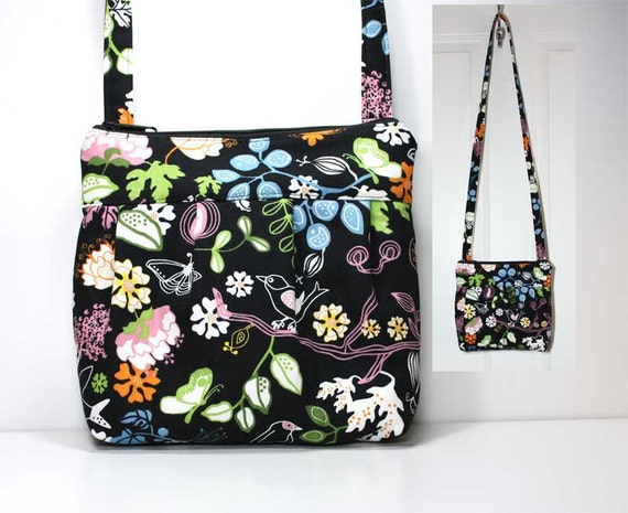 Small Pleated Shoulder Purse Sling Bag Hobo Shoulder Bag Cross Body Bag - Flowers Birds Butterfly on Black - Ready to Ship