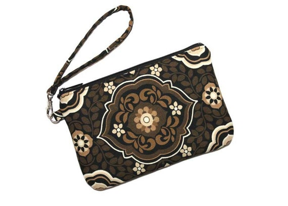 SALE - Medium Wristlet Clutch - Flowers and Leaves on Brown with Detachable Wrist Strap - Ready to Ship