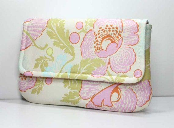 Clutch - Blue, Pink and Green Flowers and Leaves on Cream - Amy Butler Fresh Poppies Fabric - Ready to Ship