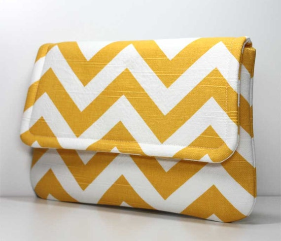 Clutch - Yellow and White Chevron with 2 Pockets - Optional Detachable Wrist Strap - Made to Order