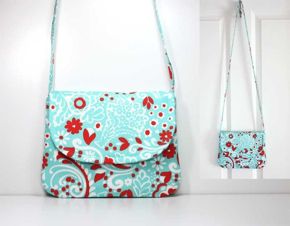 Custom Listing for quandary00 for Small Shoulder Purse - Red, White, and Aqua / Turquoise  Flowers and Leaves - Ready to Ship