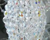 Medium Beaded Light Bulb Cover, Iridescent Glass Lamp Shade, Sconce, Pendant Light Shade, Chandelier Shade, Ceiling Fan Shade