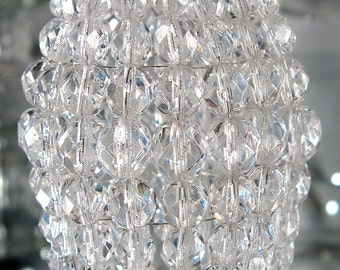 Petite Faceted Glass Beaded Light Bulb Cover, Chandelier Shade, Sconce Shade, Candelabra Shade, Shabby Chic Lamp Shade