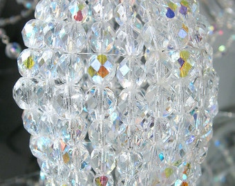 Medium Beaded Light Bulb Cover, Iridescent Glass Lamp Shade, Sconce, Pendant Light Shade, Chandelier Shade, Ceiling Fan Shade