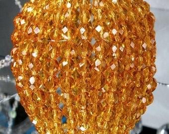 Large Topaz Glass Beaded Bulb Cover, Pendant Lamp Shade, Ceiling Light Shade, Beaded Lamp Shade For Standard Light Bulbs