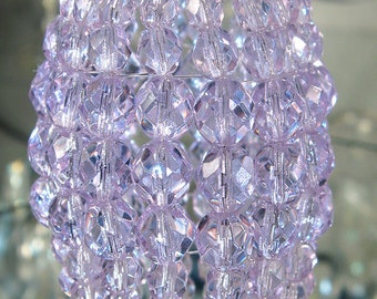 Petite Pale Violet Glass, Beaded Light Bulb Cover, Chandelier Shade, Sconce Shade, Candelabra Cover, Lamp Shade