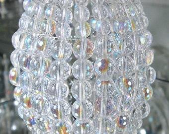 Medium Torpedo Beaded Light Bulb Cover, Iridescent Glass Lamp Shade, Sconce Shade, Pendant Light Shade, Chandelier Shade, Ceiling Fan Shade