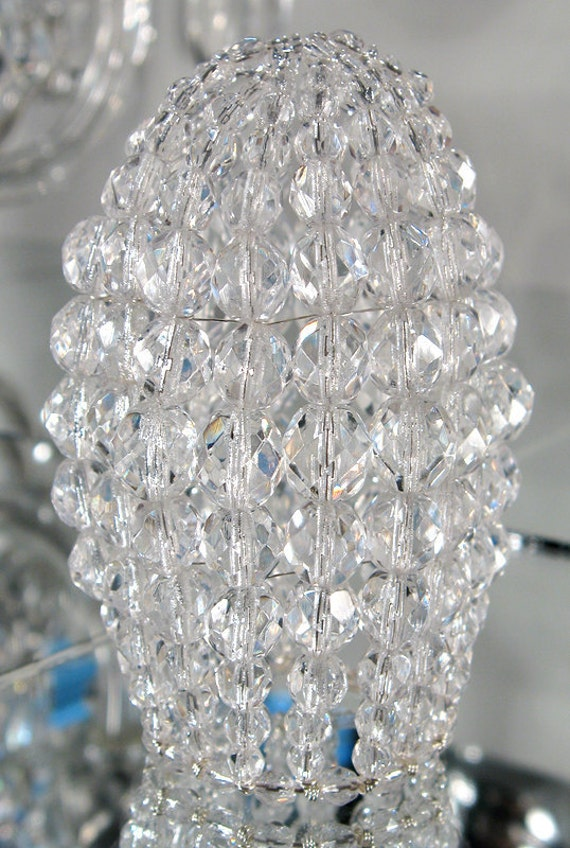 26 Gauge Wire >> Small Crystal Faceted Chandelier Beaded Bulb Cover by Atelier3059