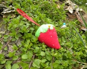 Strawberry Pin Cushion Filled with Sand to Sharpen Pins , Great Stocking Stuffer for a Sewer