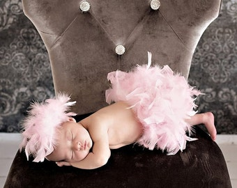 The Original Pink Feather Bloomer Diaper Cover & Headband Set Newborn Girl Photo Prop, Birth Announcement, Pink Feather Tutu, Feather Skirt
