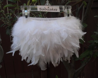 The Original White Feather Diaper Cover & Headband, Feather Take Home Outfit, Feather Christening Outfit, White Feather Bloomer Feather Tutu