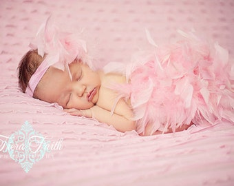 Feather Bloomer & Headband Set, Feather Diaper Cover, Newborn Photo Outfit, Hospital Take Home Outfit, Feather Tutu, Pink Fealther Bloomer
