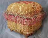 OOAK Foot Stool in Gold Tan Red with beads and fringe - SALE 50% OFF
