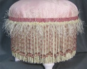 OOAK Foot Stool in Ivory Cream Pink with beads and fringe - SALE 50% OFF