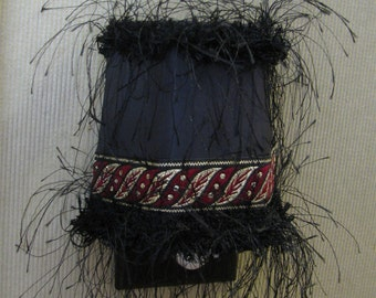 OOAK Night Light in Classy Black Red Gold with ribbon