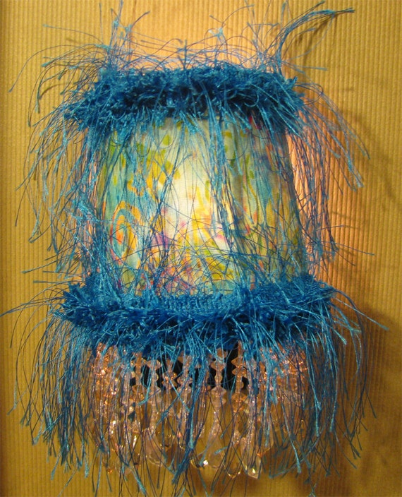 Night Light in Tye-Dye Turquoise Gold Lavendar Yellow Celestial Batisk - SALE 50% OFF