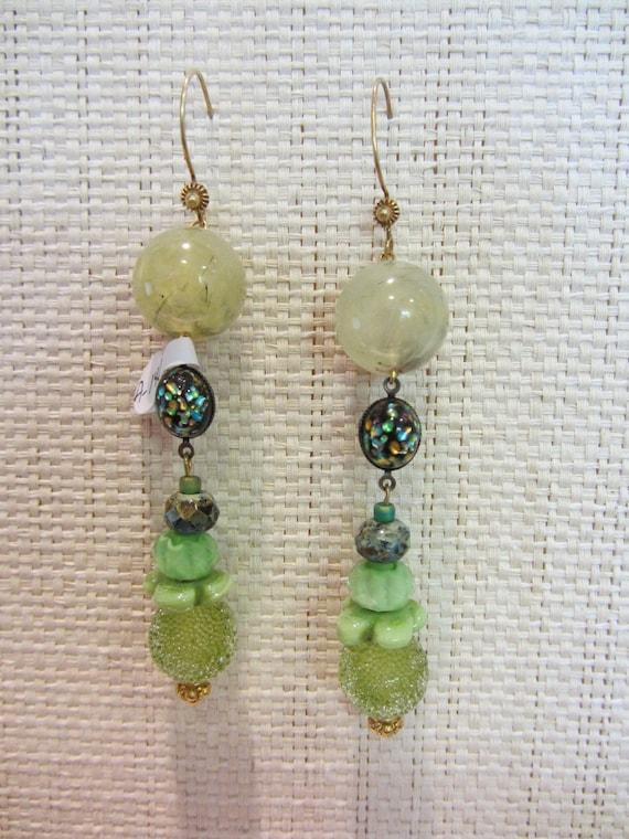 All in greens pendant earrings