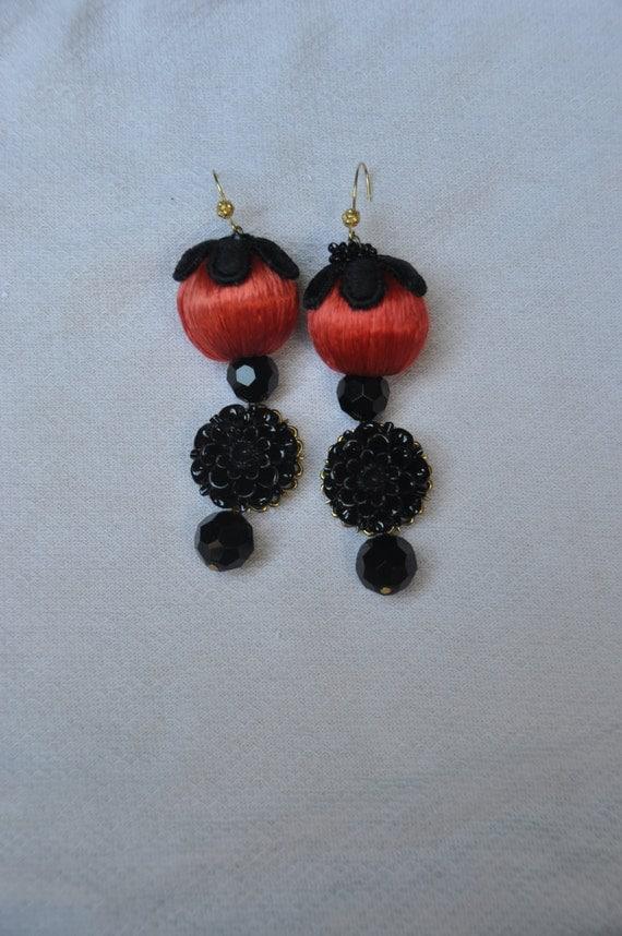 Silk pendant earrings