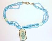 Blue Double Fish Resin Pendant Necklace