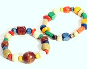 Reserved - Set of 2 Multicolored Wood Bead Childrens Bracelets