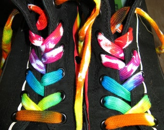 "Tie dyed 45"" inch shoelaces - rainbow"