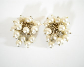 Vintage Large Pearl Burst Earrings. 1960s Earrings.