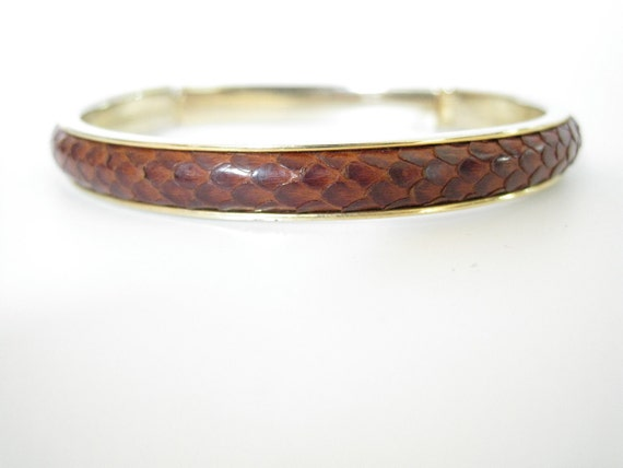 Brown Snakeskin and Gold Bracelet. Snake Skin Bangle
