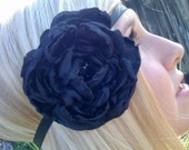 Handmade black fluffy flower headband.