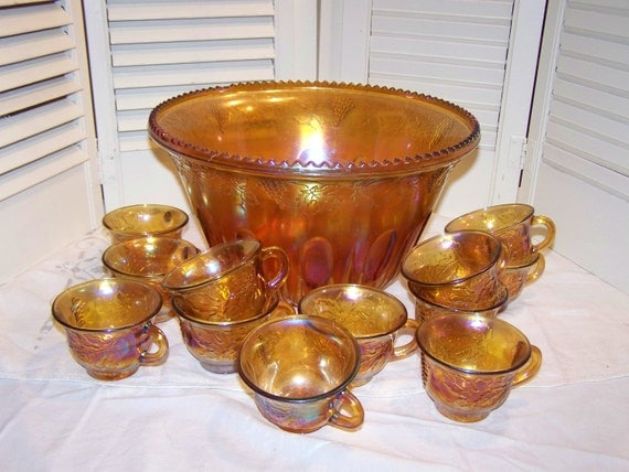 Carnival Glass Punch bowl w 12 cups, Grape design, vintage, possibly Indiana Glass