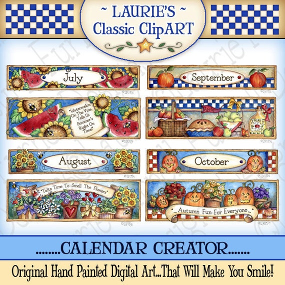 Calendar Maker Art Explosion : Calendar creator digital art seasonal clipart