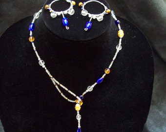 Cobalt and Tiger's Eye Necklace and Earrings Set