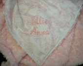 Pink Toile Minky Blanket - Lovey, Baby, Toddler, Adult Sizes - Shipping Inlcuded