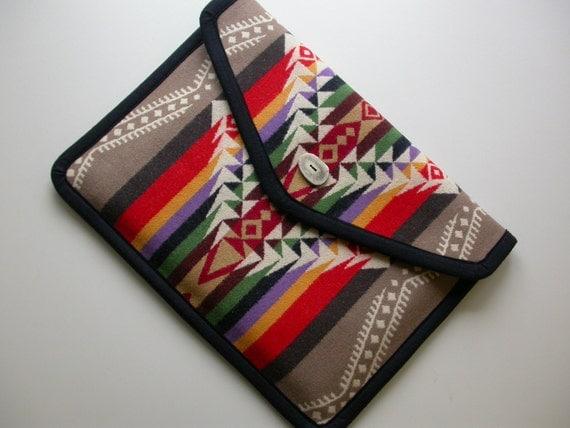 "15"" MacBook Pro Laptop Cover -  Pendleton Wool - handmade antler button or velcro closure"