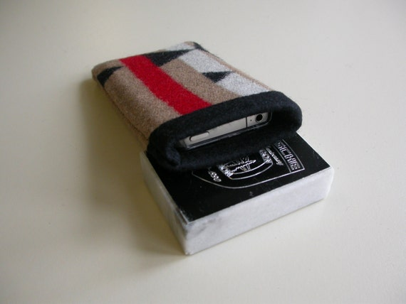 iPhone fabric cover, case, sleeve - Pendleton Wool - black white red khaki - 3g 3gs 4 4s