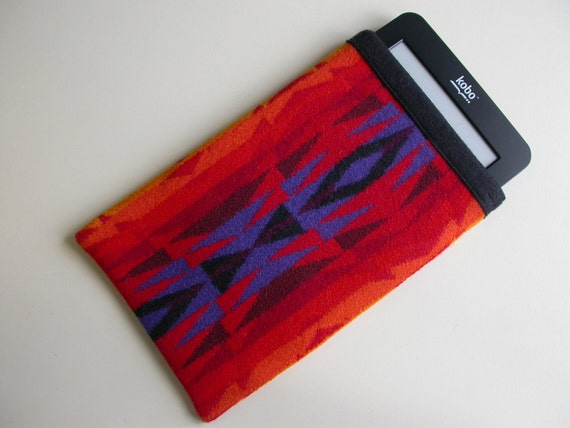 Simple Kindle Kobo eReader Sleeve case cover - Pendleton Wool - colorful RED and purple Native American print