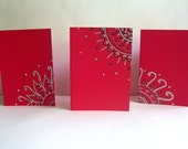 Hand Drawn Cards in Candy Apple Red (Set of 3, envelopes included)