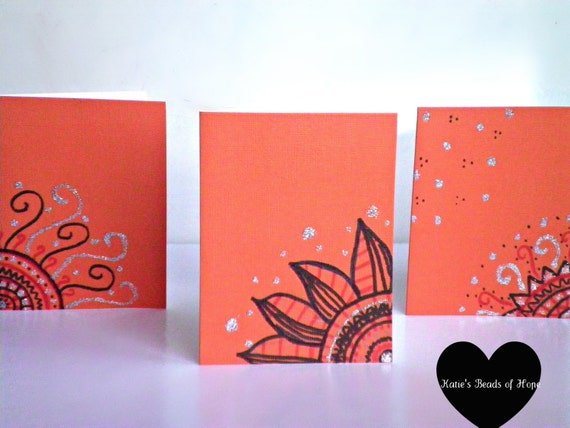 Tangerine Fire Hand Drawn Greeting Cards -Set of 3- Envelopes included