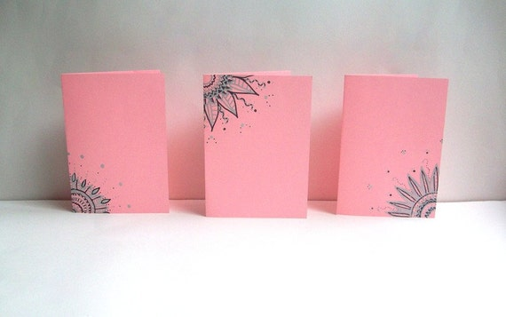 Pastel Pink Hand Drawn Greeting Cards -Set of 3- Envelopes included