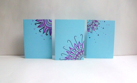Pastel Blue & Purple Handmade/Hand Drawn Greeting Cards, Set of 3, Envelopes included