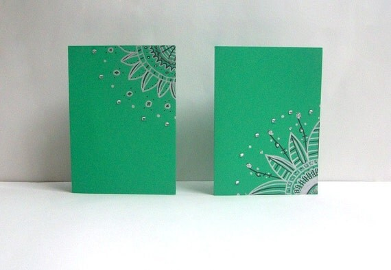 Shamrock Green Hand Drawn Note Cards -Set of Two- Enveloped included