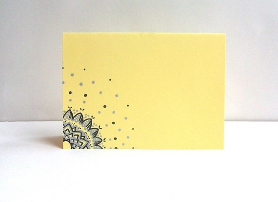 Pastel Yellow Hand Drawn Card (Single card, envelope included)