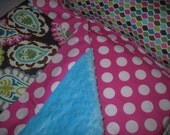 Ellie nap mat with minky dot on underside of the blanket