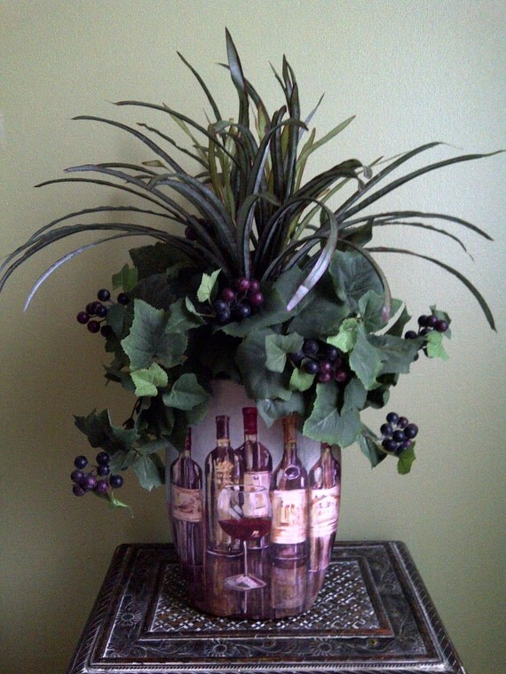 Greenery Grapevine Wine Grapes Home Decor Floral Arrangement